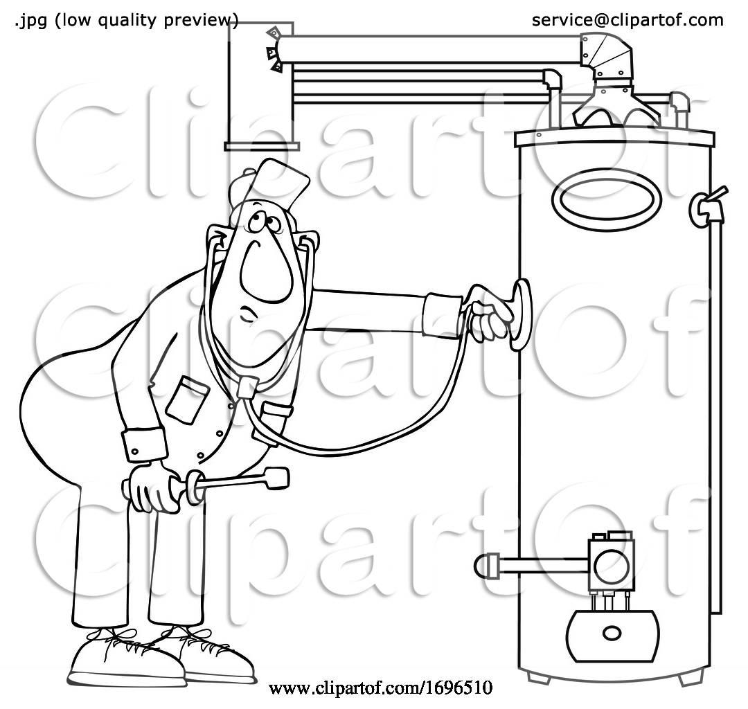 Cartoon Male Plumber Diagnosing a Water Heater by djart