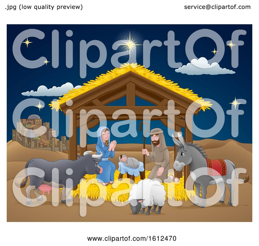 hight resolution of cartoon nativity christmas scene by atstockillustration
