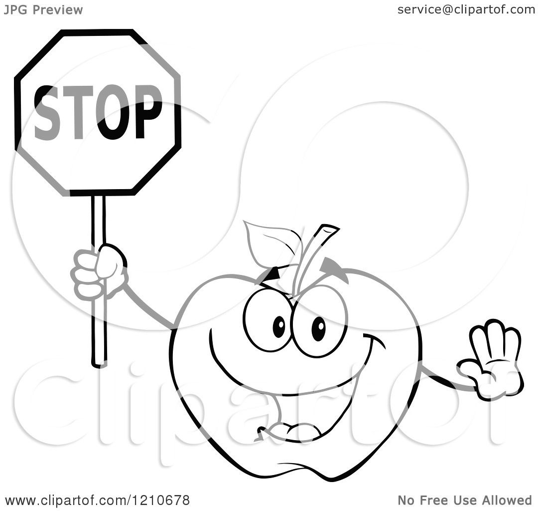 Cartoon Of A Black And White Apple Mascot Holding A Stop