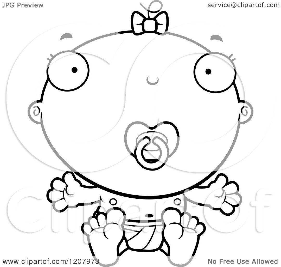 Cartoon Of A Black And White Baby Infant Girl With A