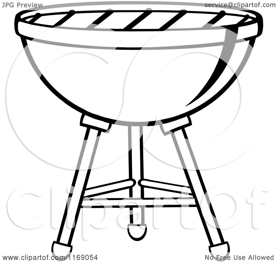 Cartoon Of A Black And White Charcoal Bbq Grill
