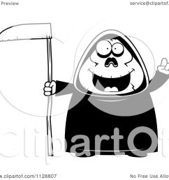 cartoon of a black and white chubby grim reaper with an idea vector clipart by cory thoman [ 1080 x 1024 Pixel ]