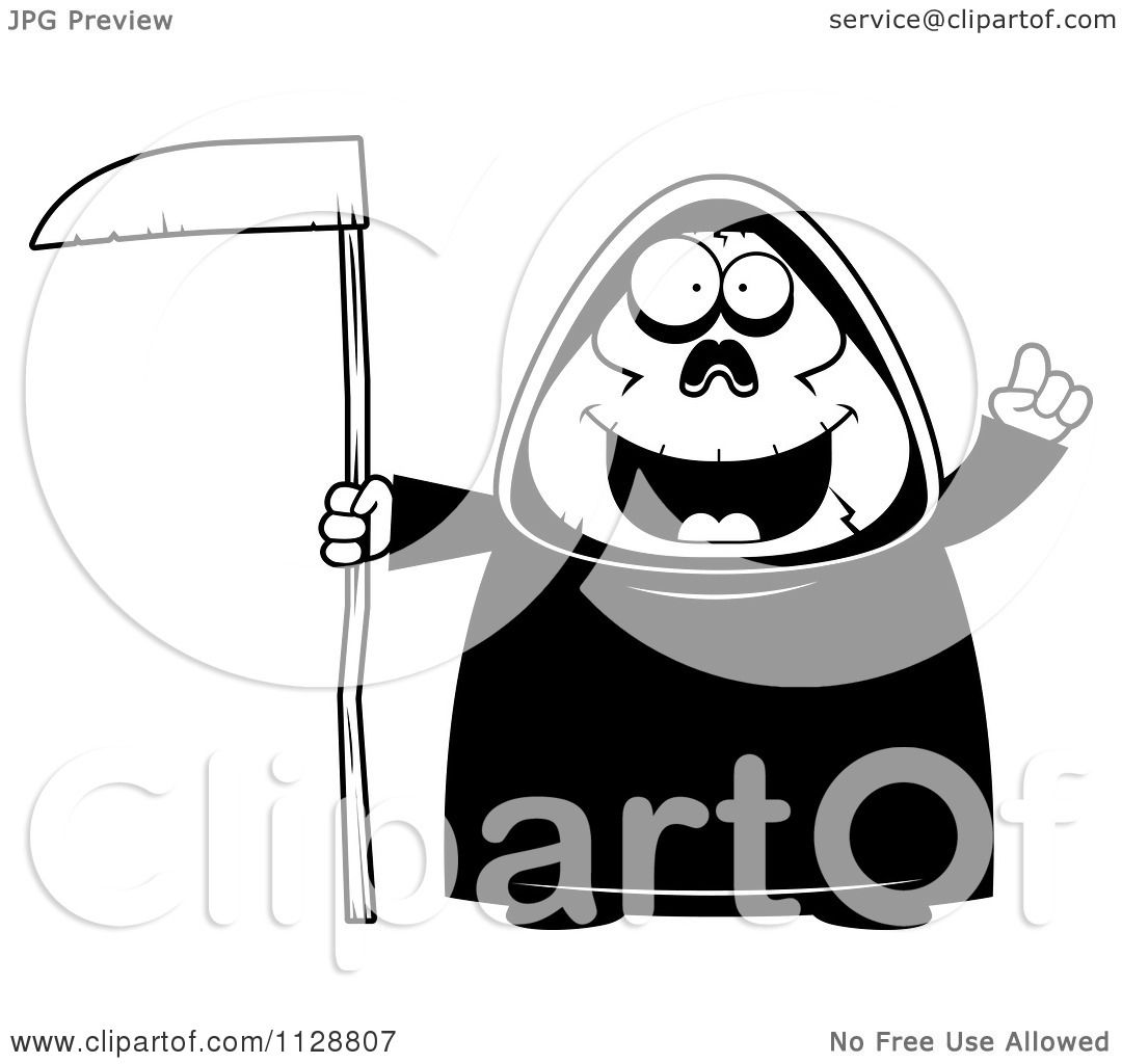 hight resolution of cartoon of a black and white chubby grim reaper with an idea vector clipart by cory thoman