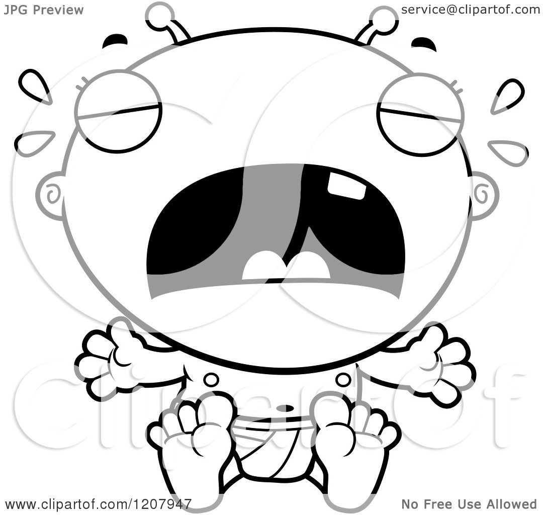 Cartoon Of A Black And White Crying Alien Infant Baby