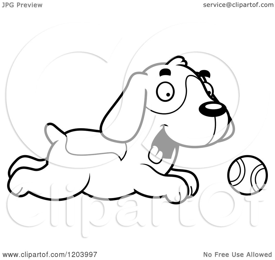Cartoon Of A Black And White Cute Beagle Puppy Chasing A