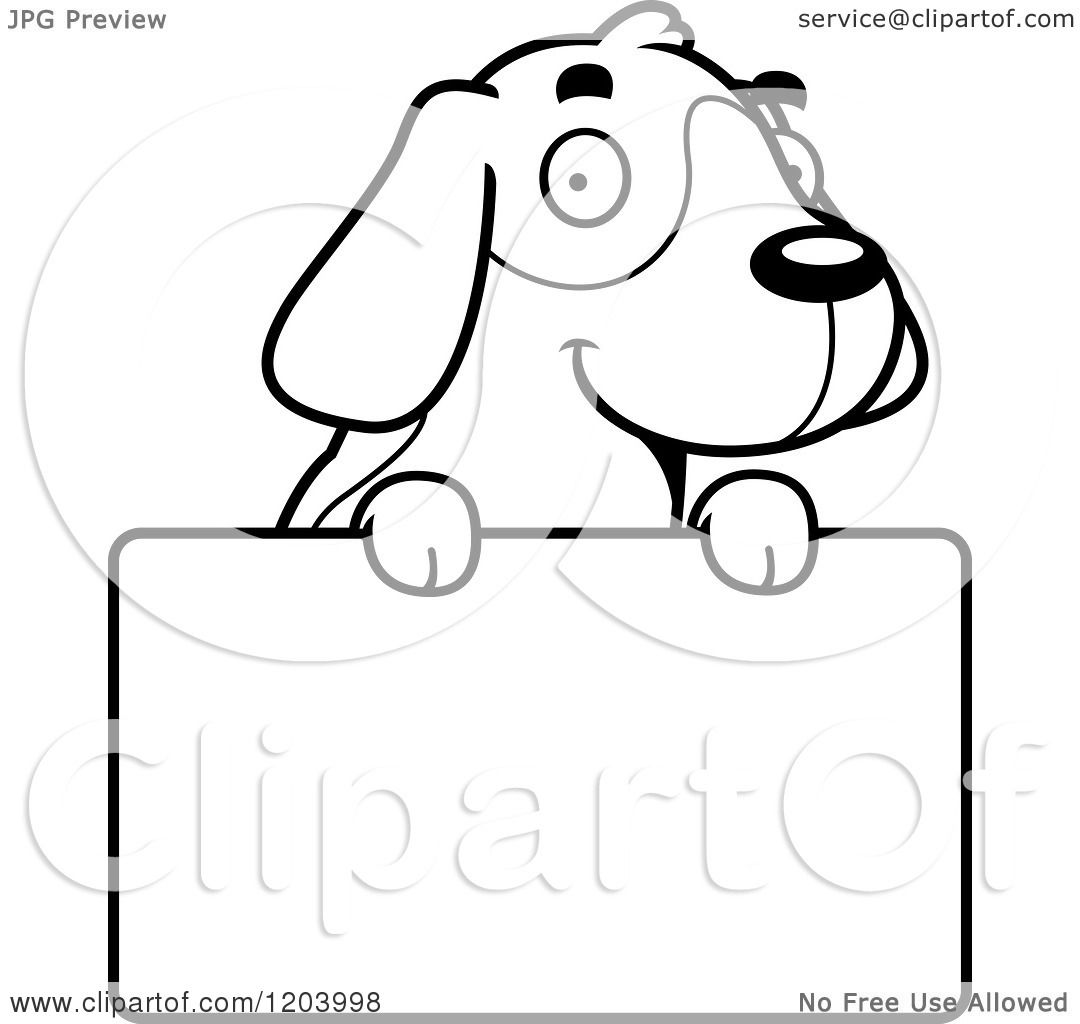 Cartoon of a Black And White Cute Beagle Puppy over a Sign