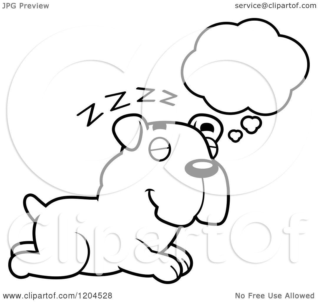 Cartoon Of A Black And White Cute Bulldog Puppy Dog