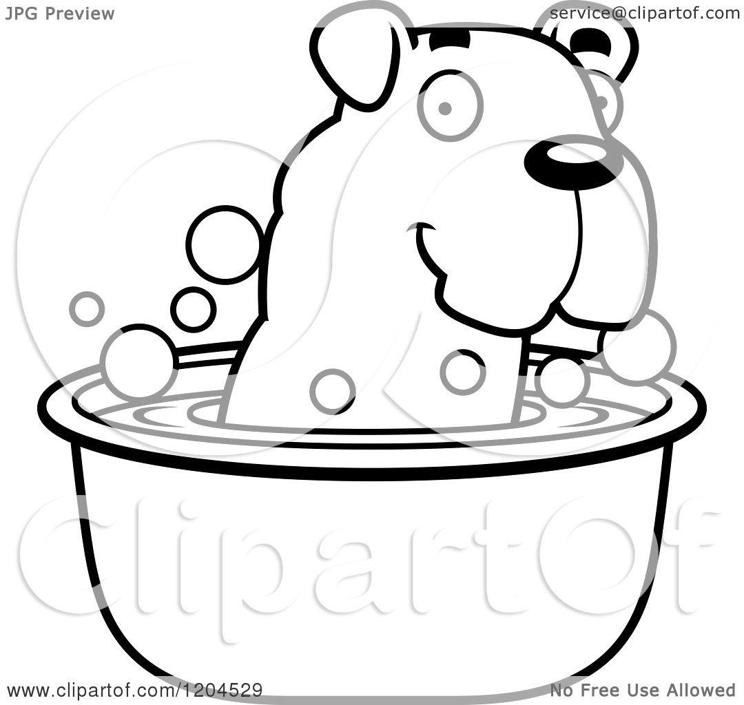 Cartoon Of A Black And White Cute Bulldog Puppy Dog Taking
