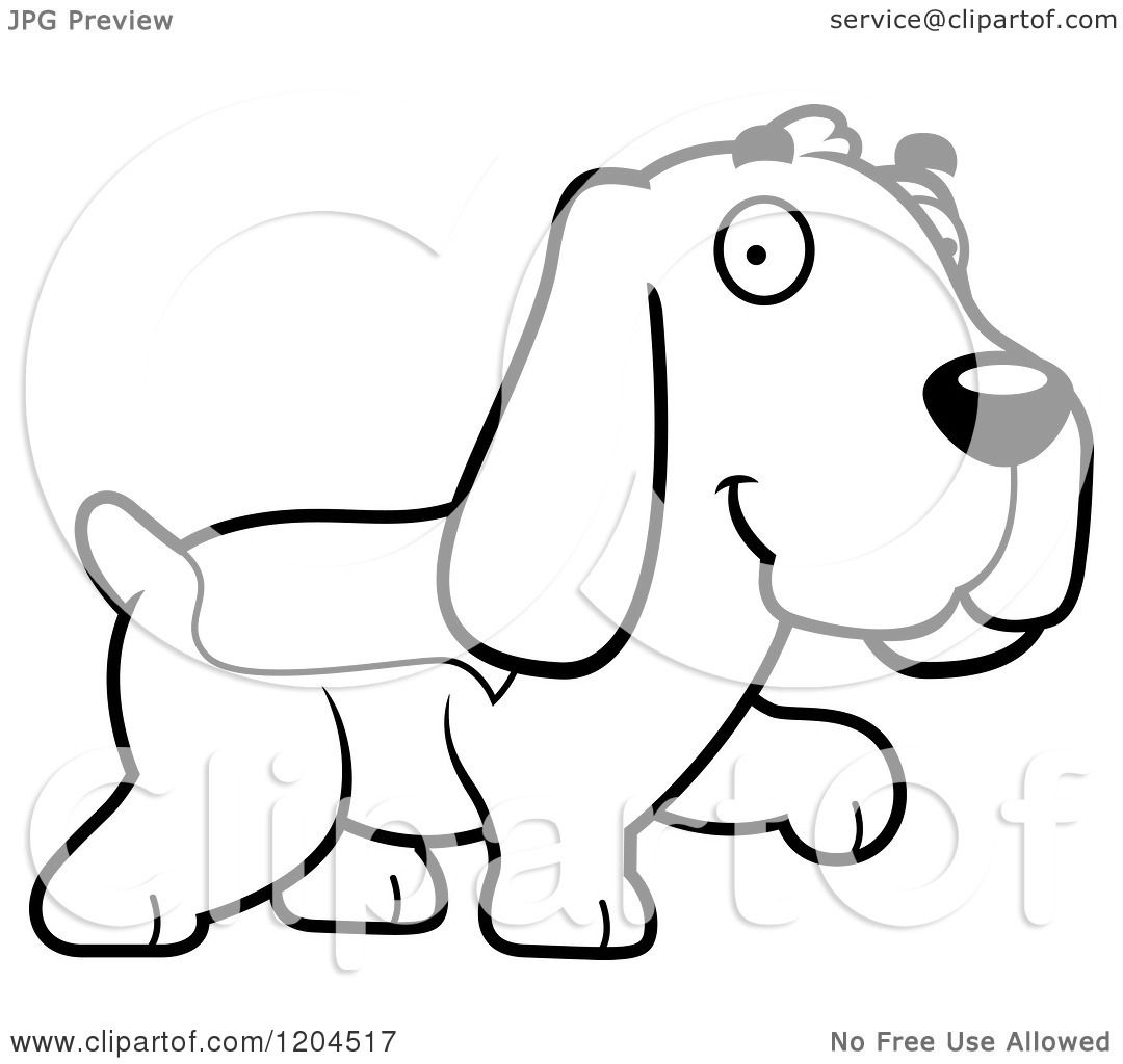 Cartoon Of A Black And White Cute Hound Dog Walking