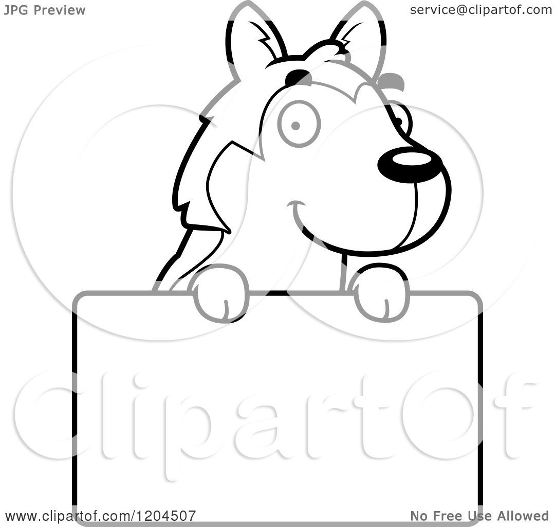Cartoon Of A Black And White Cute Husky Puppy Dog Over A