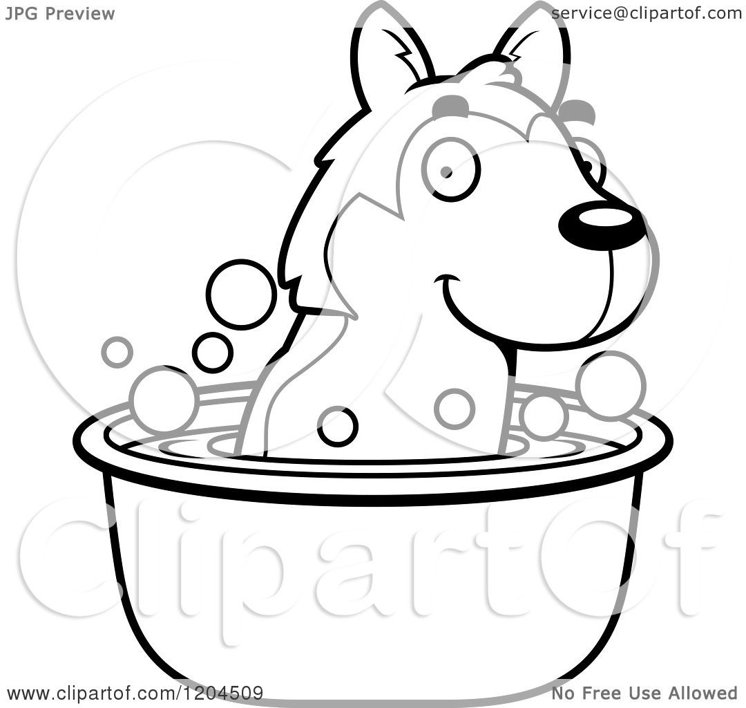 Cartoon Of A Black And White Cute Husky Puppy Dog Taking A