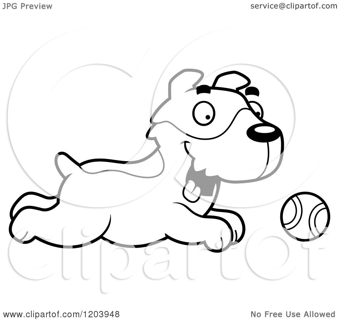 Cartoon Of A Black And White Cute Jack Russell Terrier