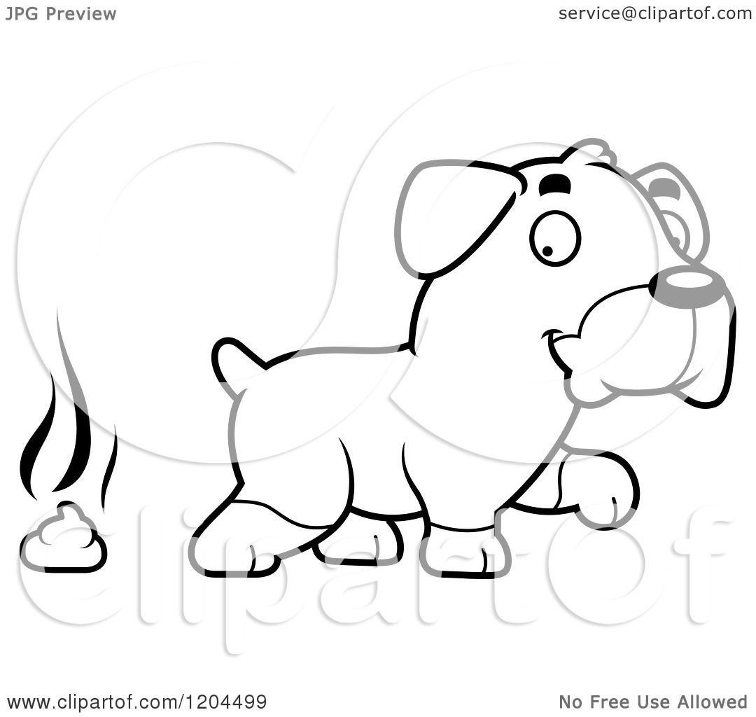Cartoon Of A Black And White Cute Rottweiler Puppy Dog