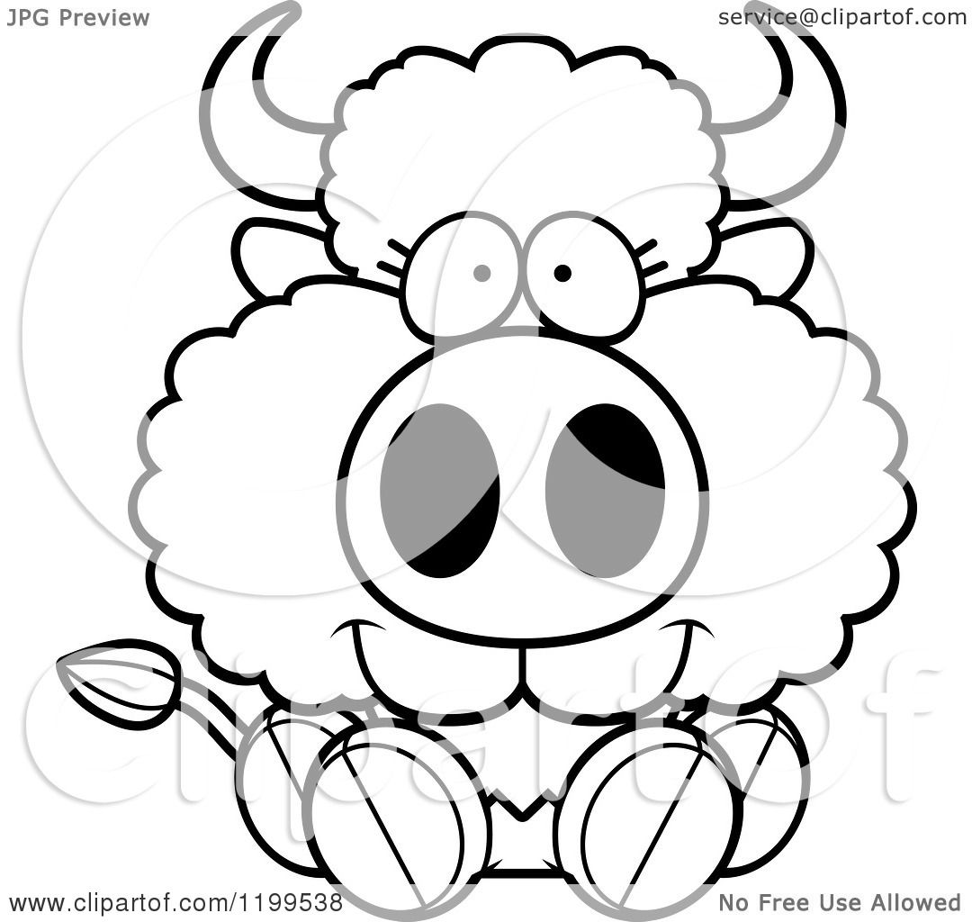 Cartoon Of A Black And White Cute Sitting Buffalo Calf