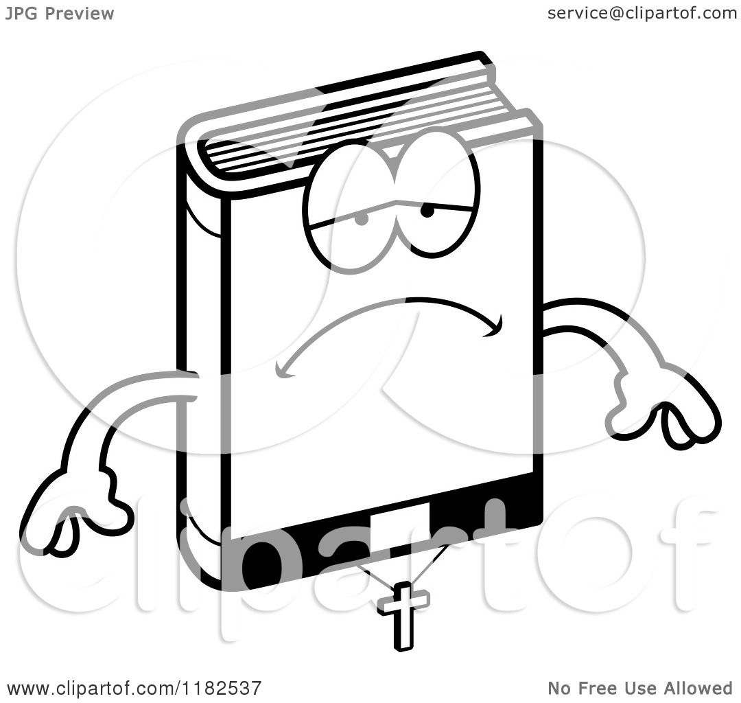 Cartoon Of A Black And White Depressed Bible Mascot