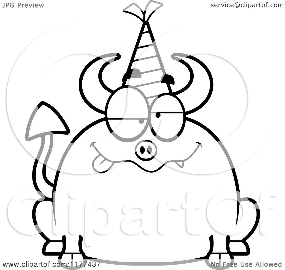 Cartoon Of A Black And White Drunk Birthday Devil Wearing