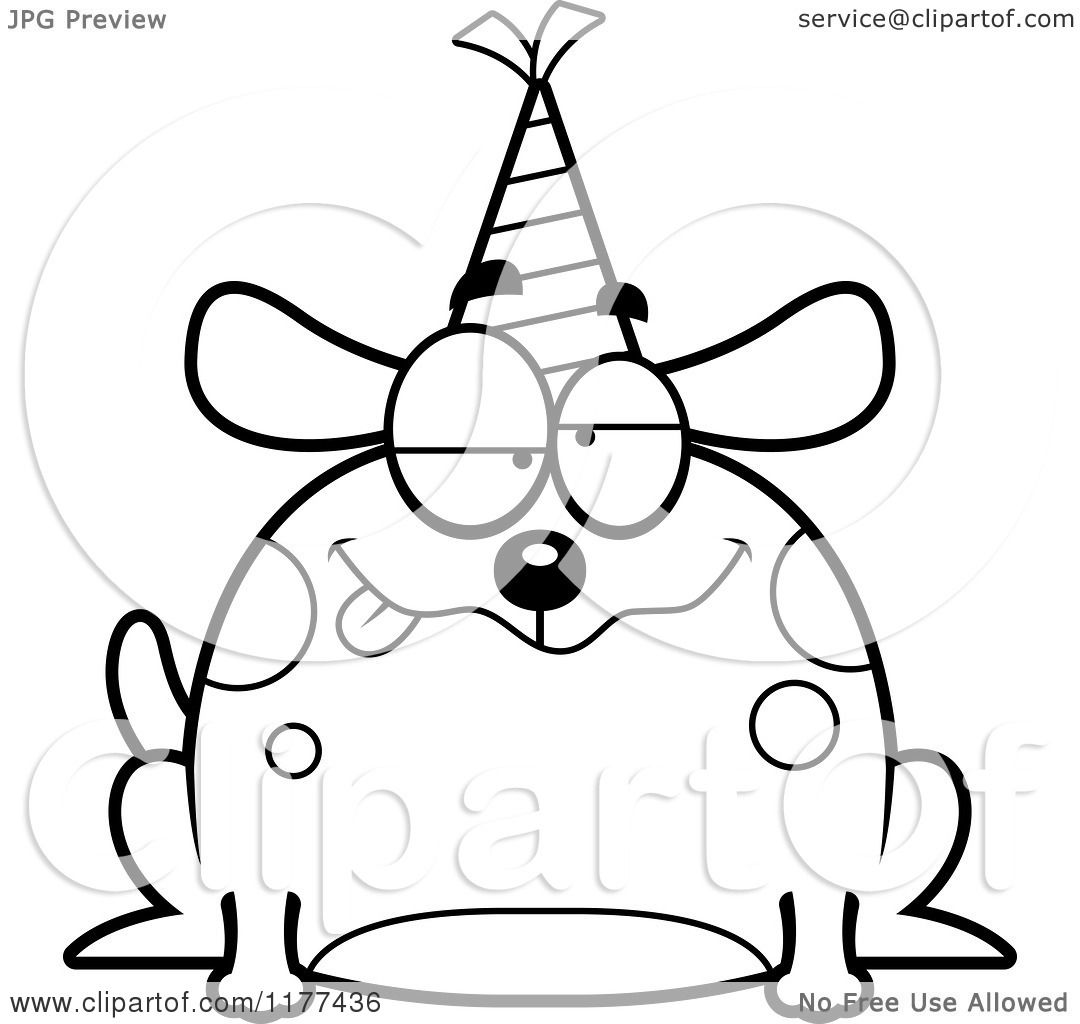 Cartoon Of A Black And White Drunk Birthday Dog Wearing A
