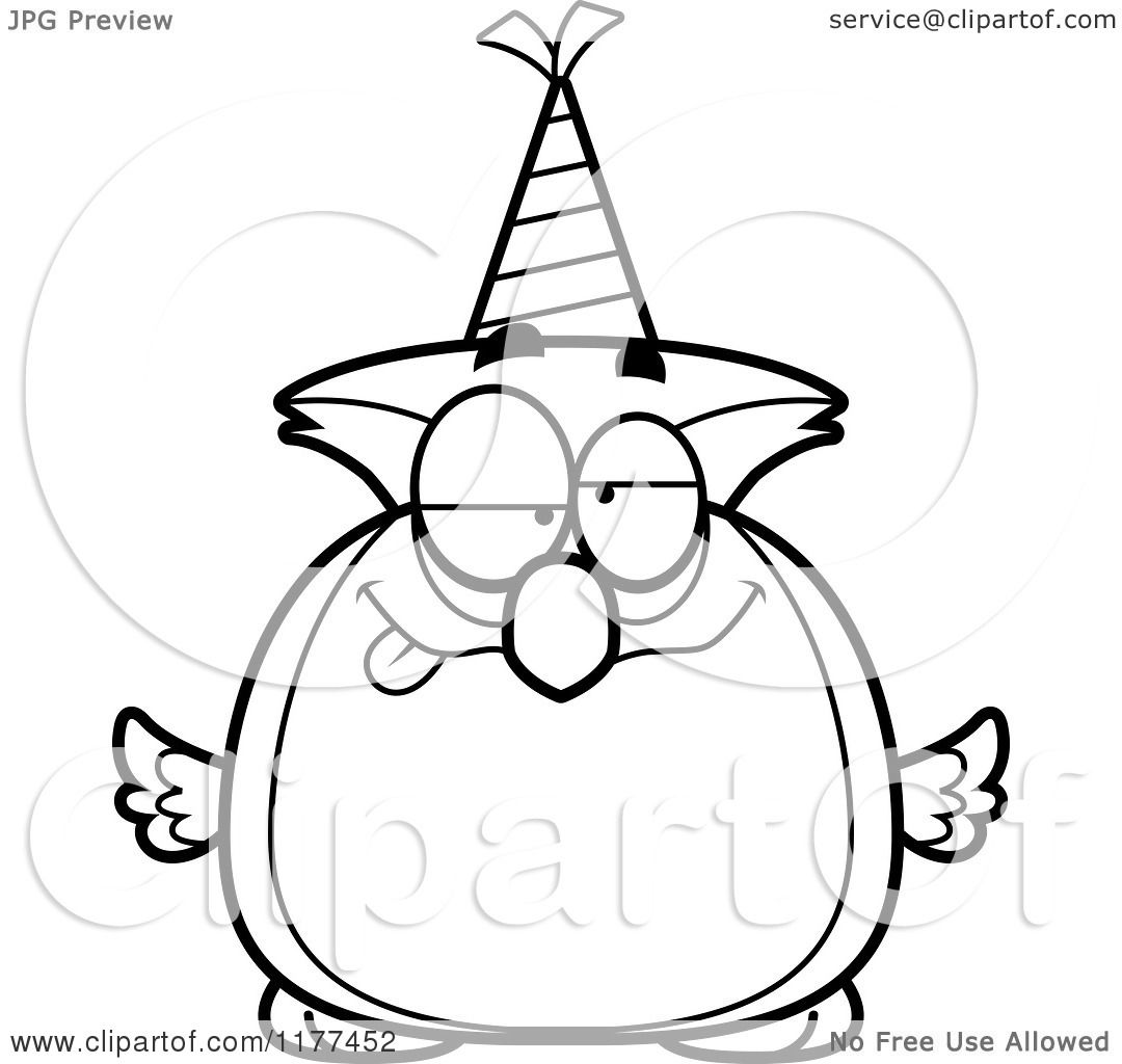 Cartoon Of A Black And White Drunk Birthday Owl Wearing A