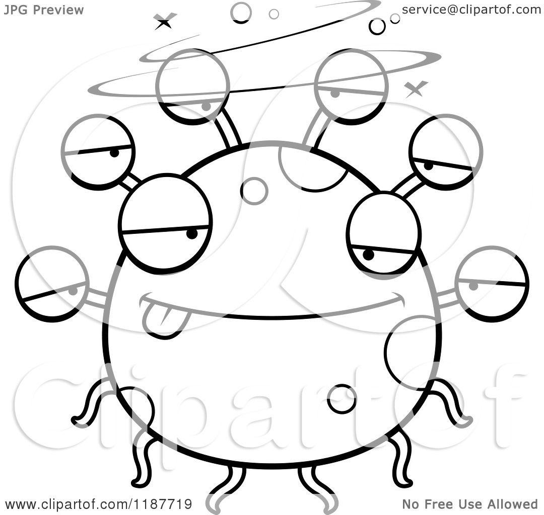 Cartoon Of A Black And White Drunk Eyeball Monster