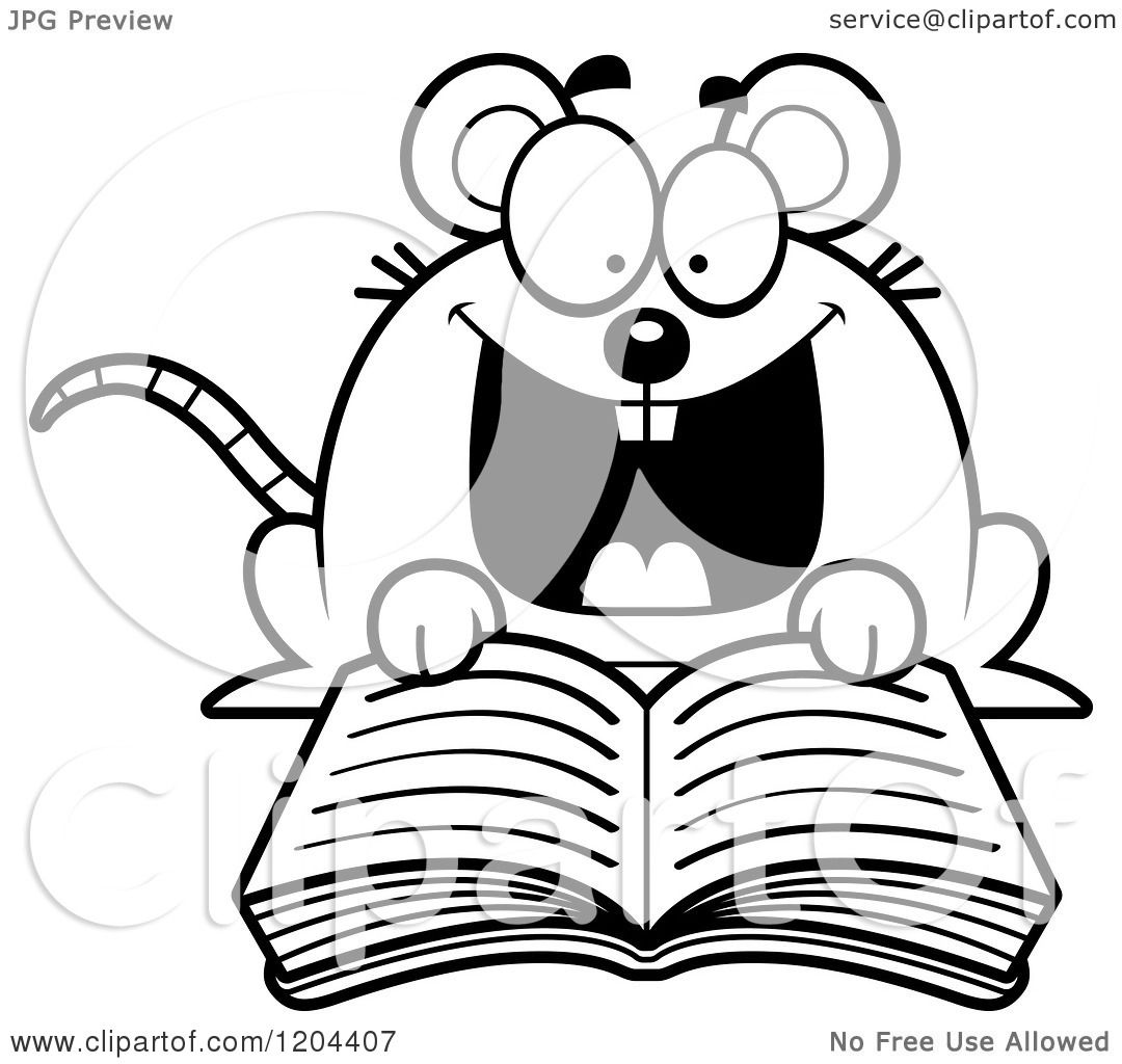 Cartoon Of A Black And White Excited Mouse Reading A Book