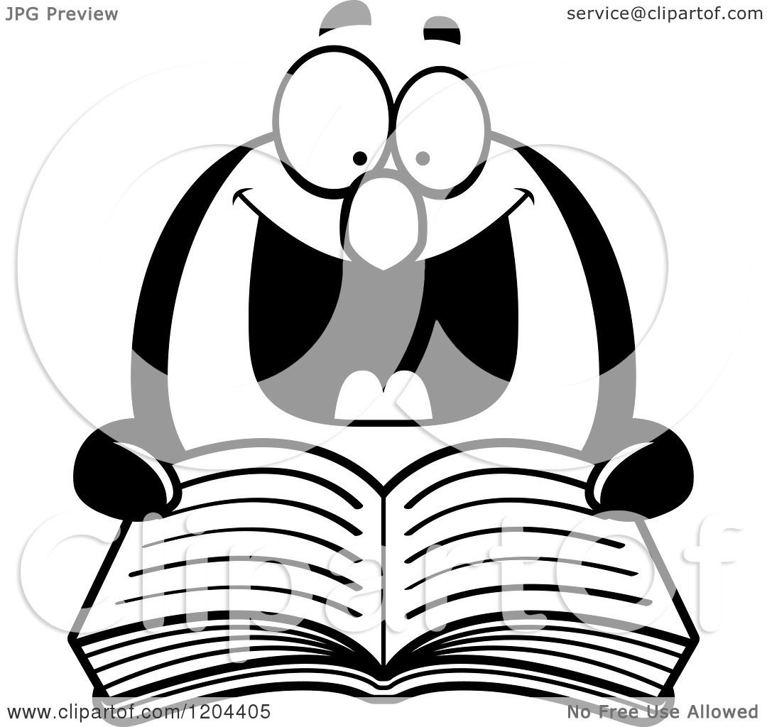 Cartoon of a Black and White Excited Penguin Reading a