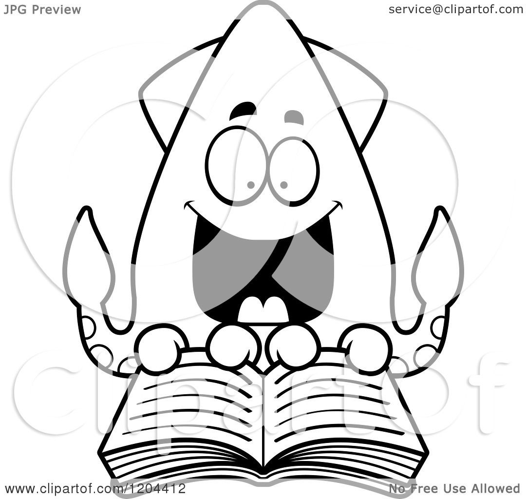 Cartoon Of A Black And White Excited Squid Reading A Book