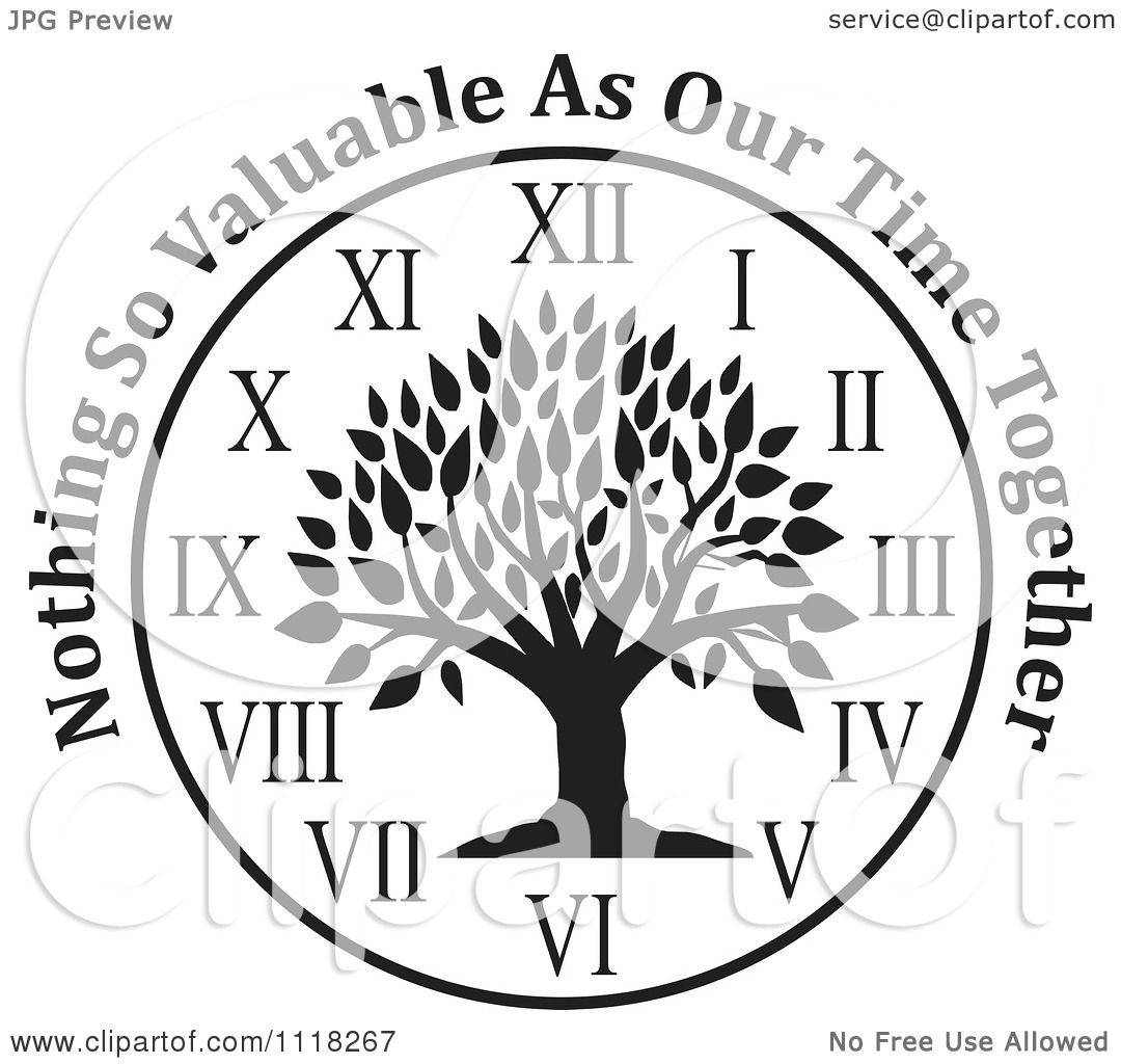 Cartoon Of A Black And White Family Tree Clock With