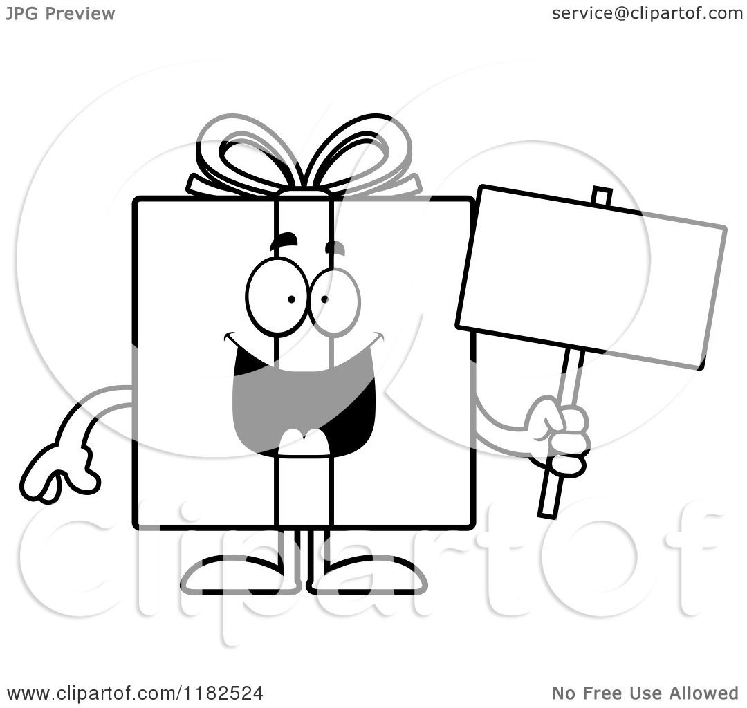 Cartoon of a Black And White Gift Box Mascot Holding a