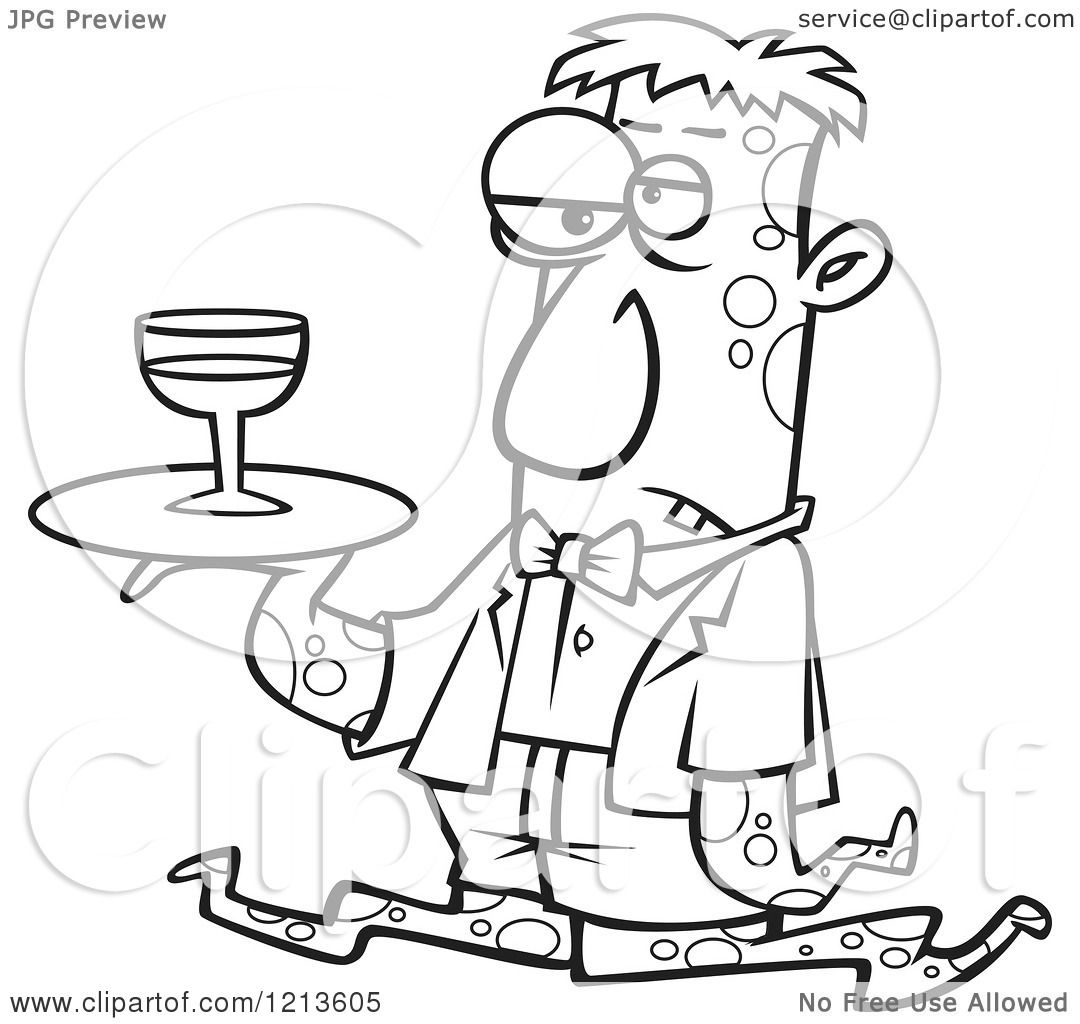 Cartoon Of A Black And White Gross Tentacled Monster Waiter With Wine On A Tray