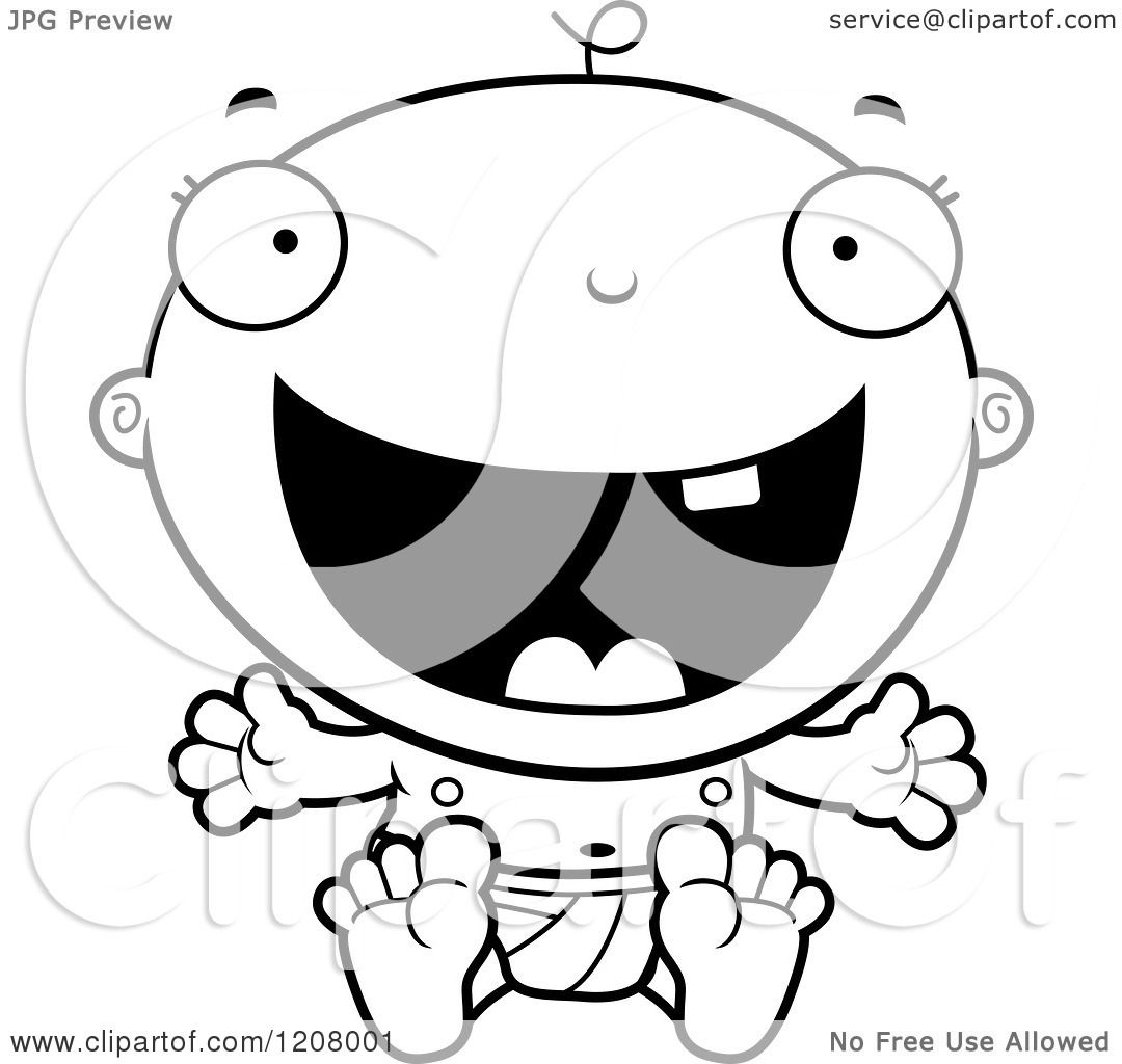 Cartoon Of A Black And White Happy Baby Boy Infant