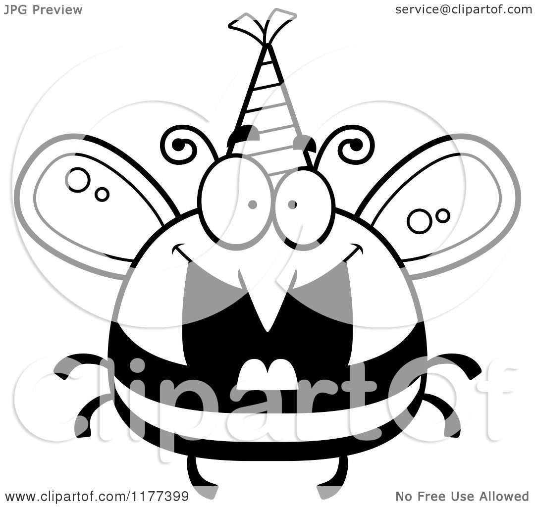Cartoon Of A Black And White Happy Birthday Bee Wearing A