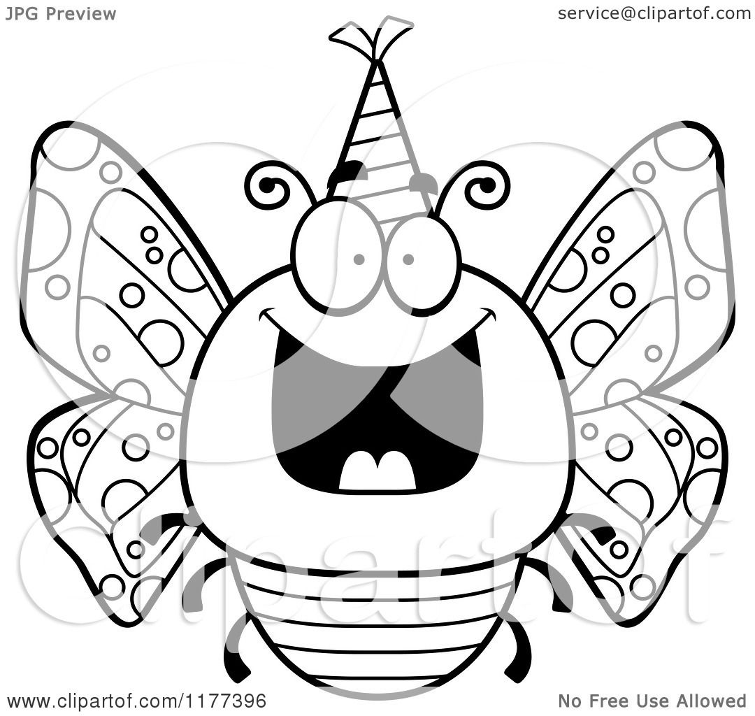 Cartoon Of A Black And White Happy Birthday Butterfly