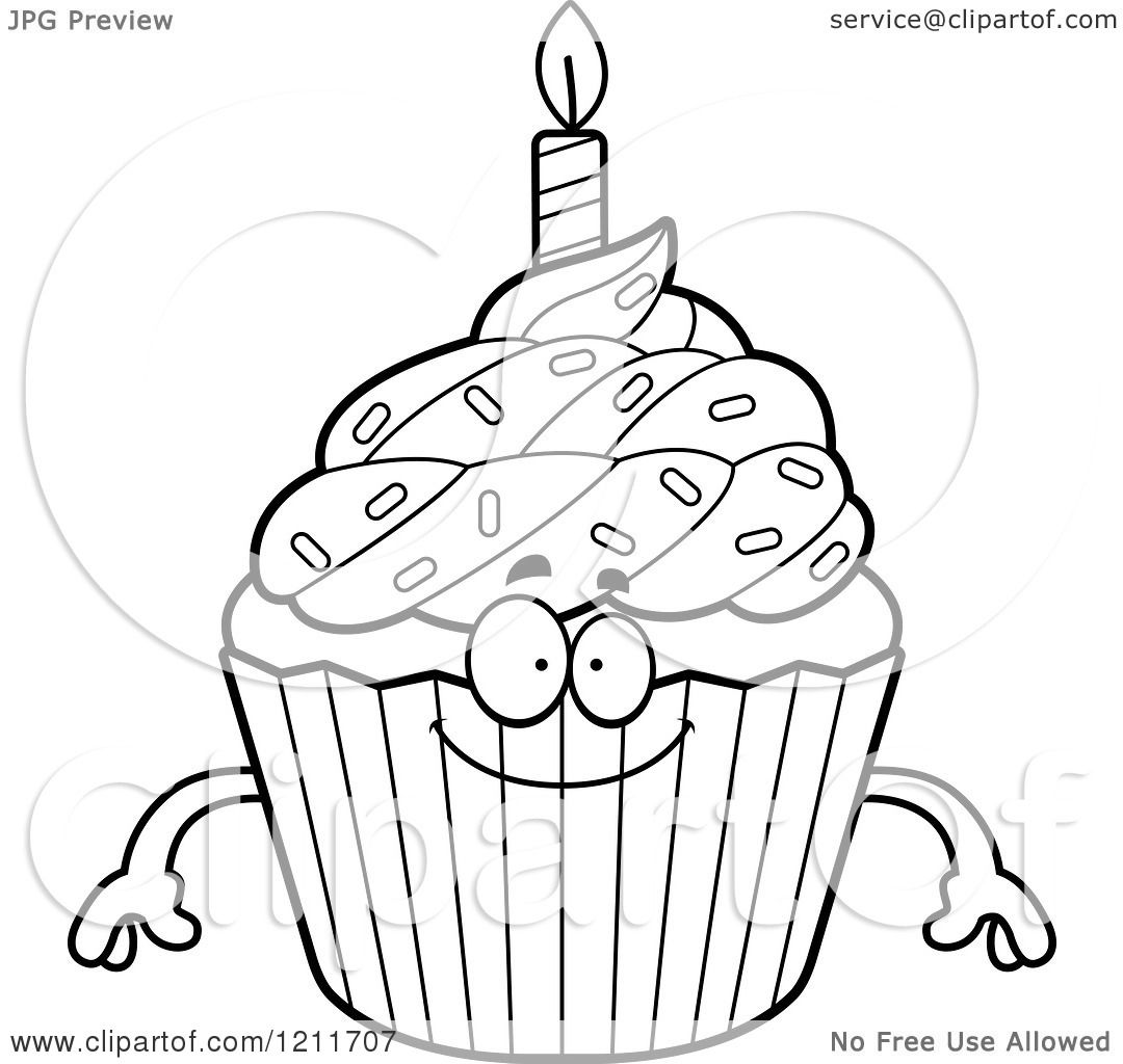 Cartoon Of A Black And White Happy Birthday Cupcake Mascot