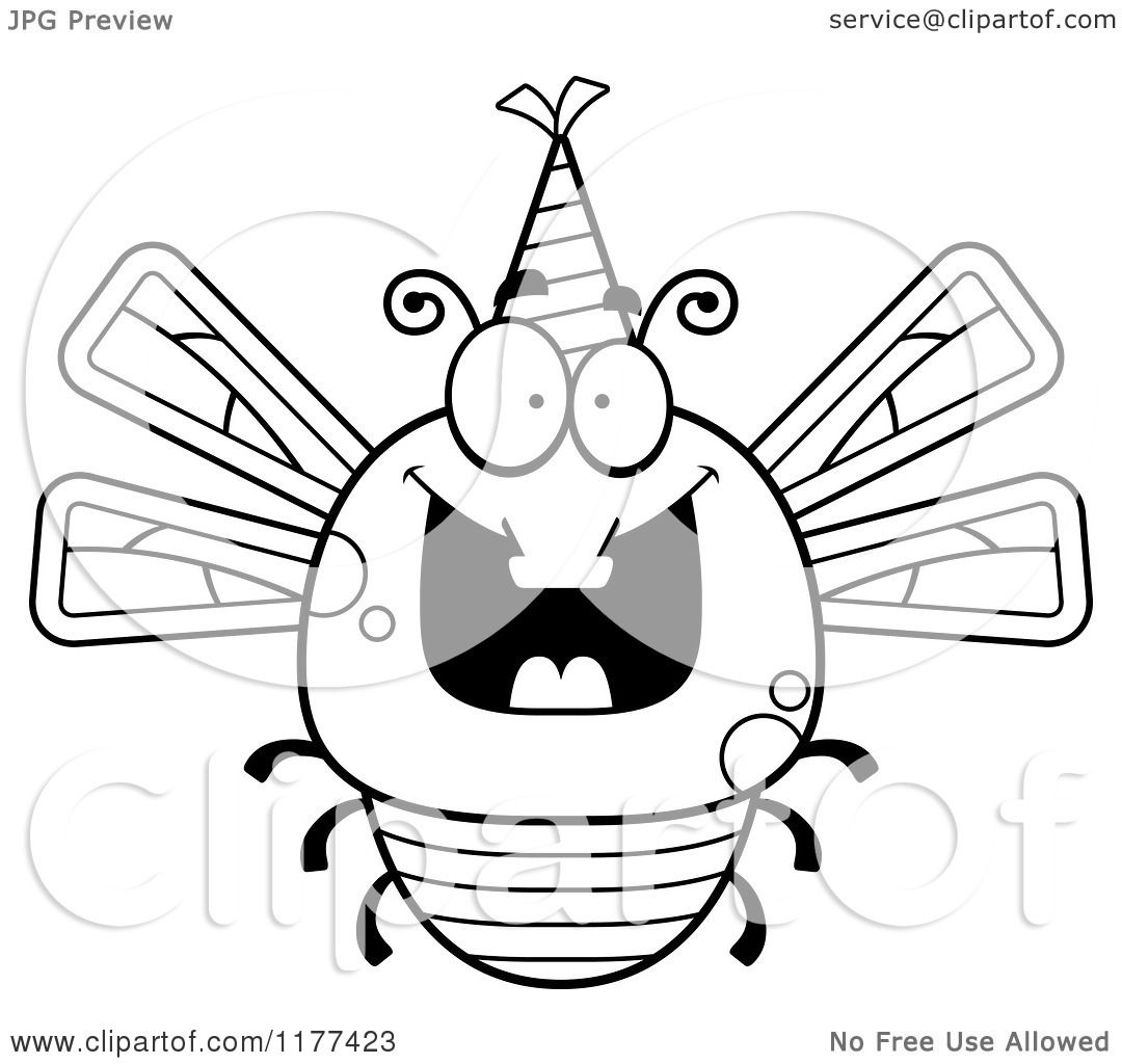 Cartoon Of A Black And White Happy Birthday Dragonfly