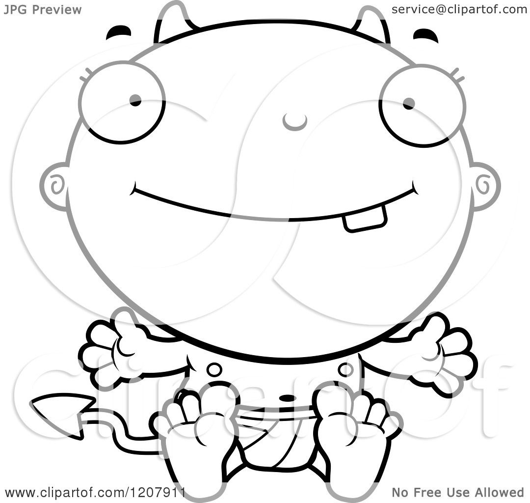 Cartoon Of A Black And White Happy Devil Infant Baby