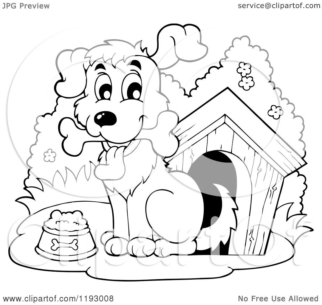 Cartoon Of A Black And White Happy Dog With A Bone By His