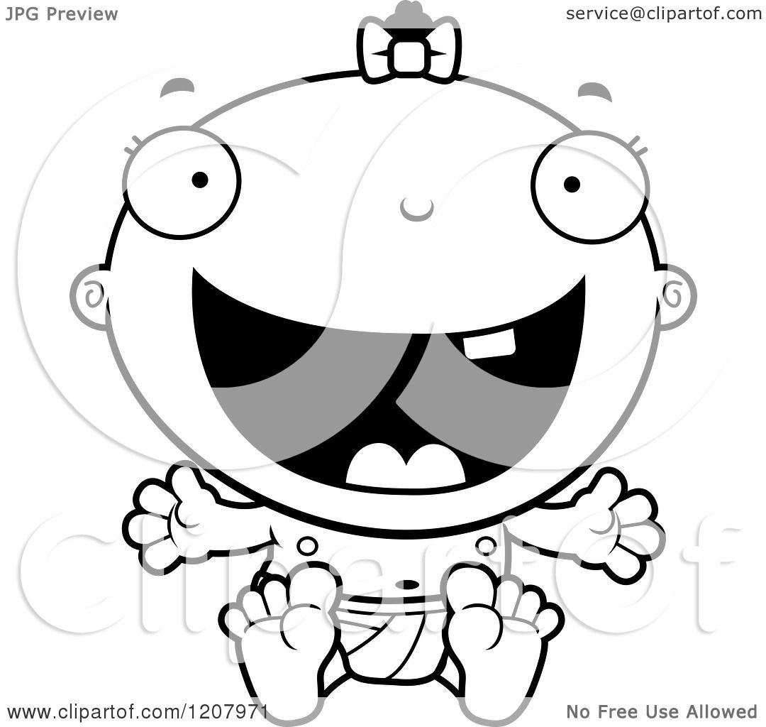 Cartoon Of A Black And White Happy Excited Baby Infant Black Girl