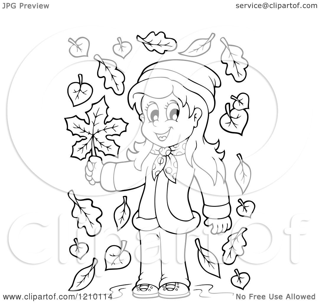 Cartoon Of A Black And White Happy Girl Holding An Autumn