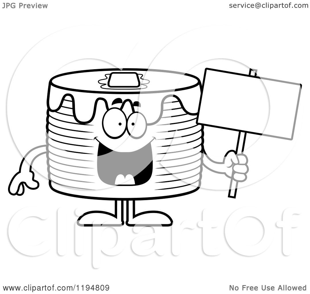 Cartoon Of A Black And White Happy Pancakes Mascot Holding