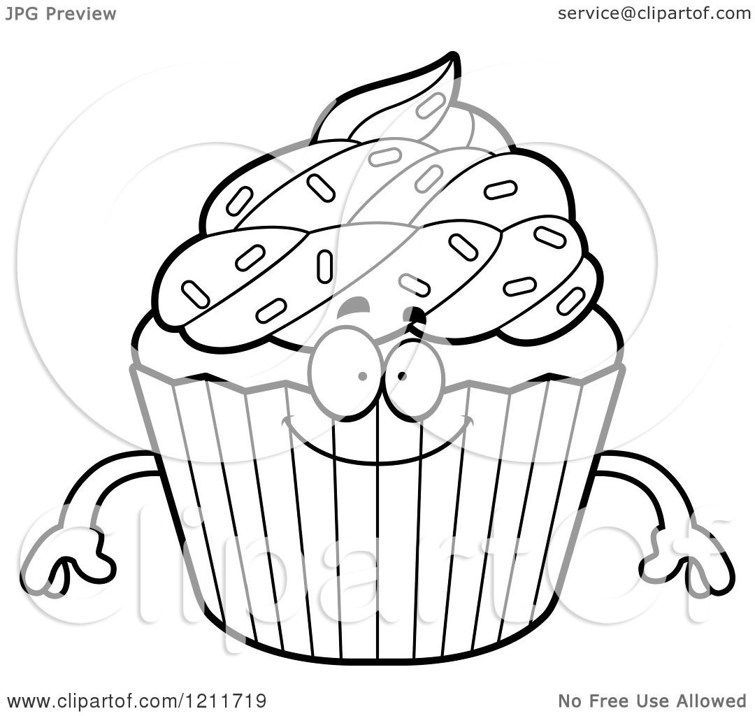 Cartoon Of A Black And White Happy Sprinkled Cupcake