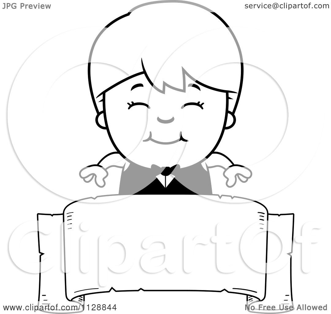 Cartoon Of A Black And White Happy Waiter Boy Over A