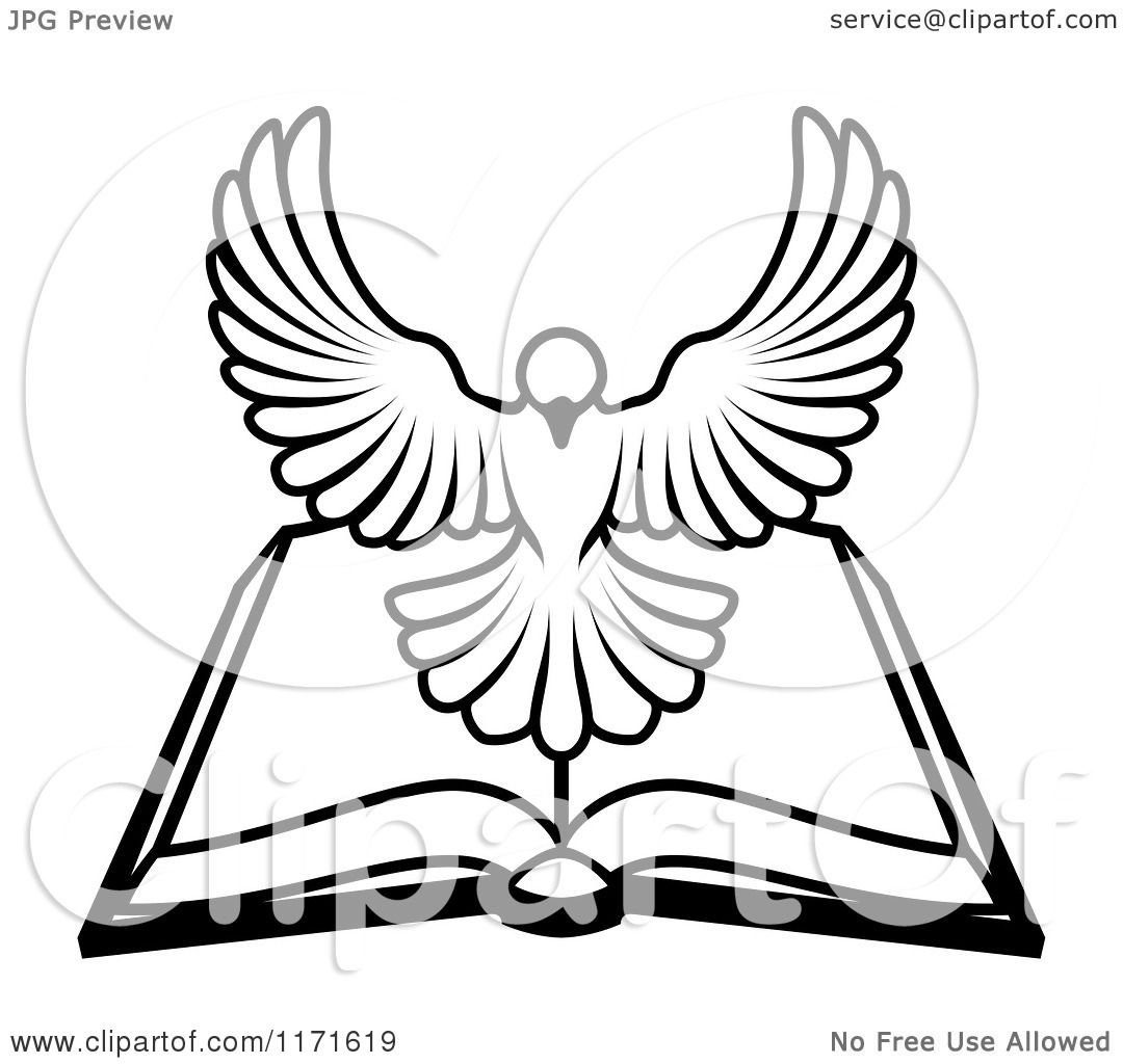 Cartoon Of A Black And White Holy Spirit Dove Above An