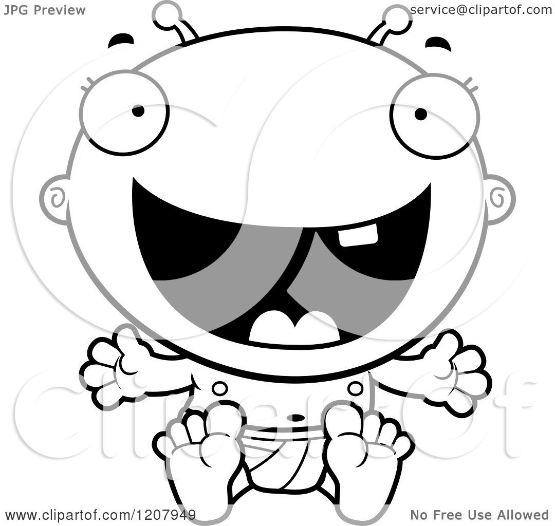Cartoon Of A Black And White Laughing Alien Infant Baby