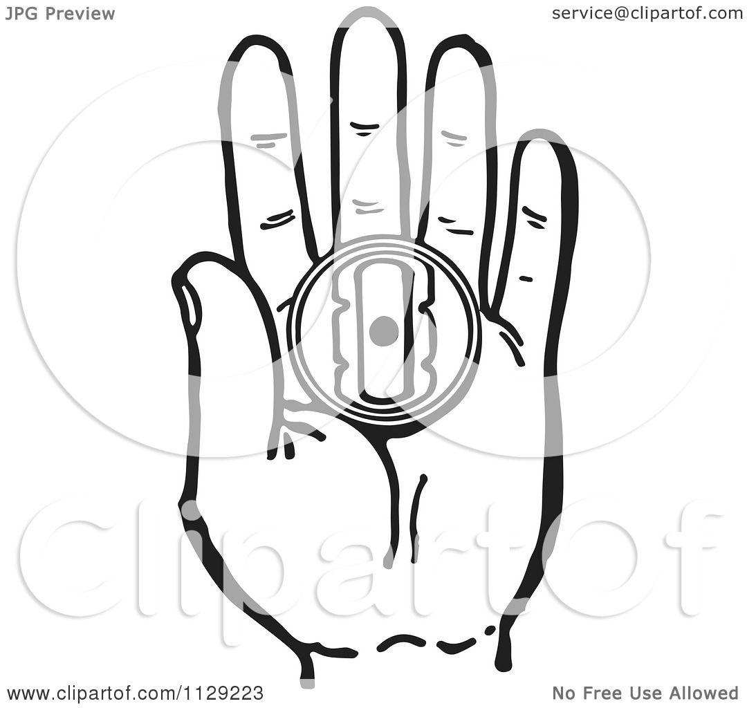 Cartoon Of A Black And White Retro Hand Holding A Prank Buzzer Toy
