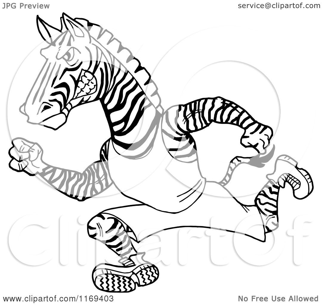 Cartoon Of A Black And White Running Track And Field Zebra