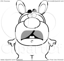 bunny easter scared costume clipart cartoon royalty vector cory thoman drawing clipartmag