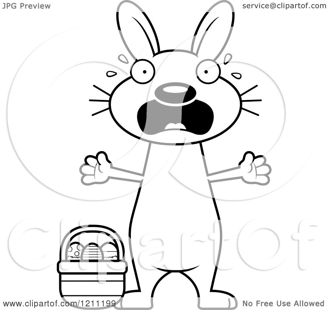 Cartoon Of A Black And White Scared Slim Easter Bunny