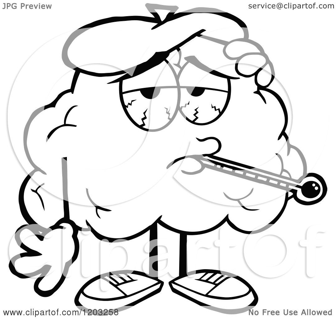 Cartoon Of A Black And White Sick Brain Mascot With A