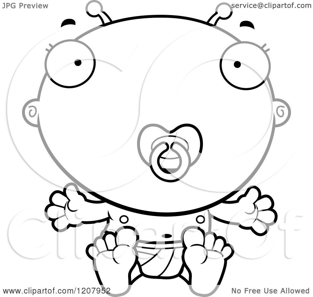 Cartoon Of A Black And White Sitting Alien Infant Baby