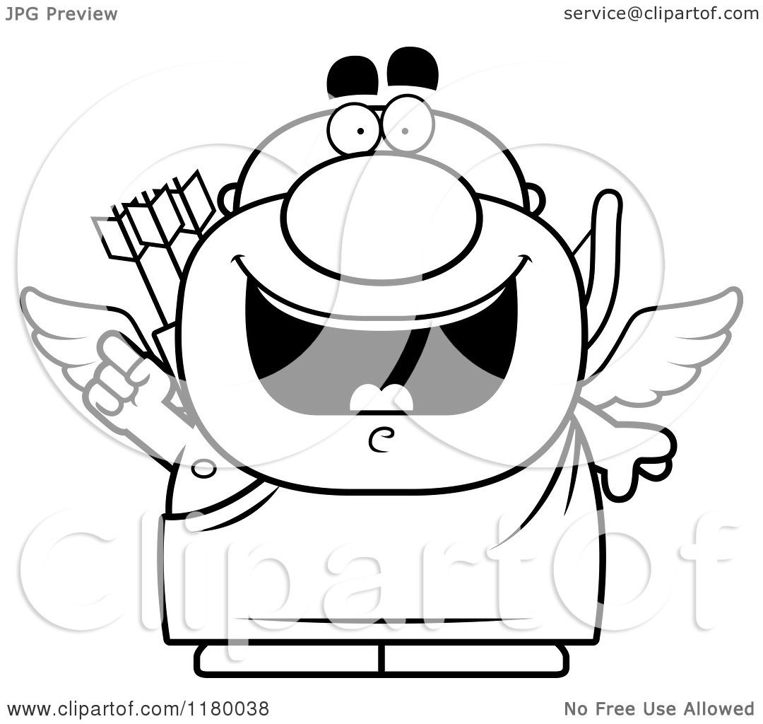 Cartoon Of A Black And White Smart Chubby Cupid With An